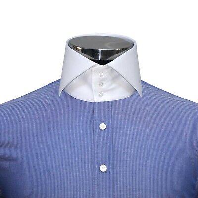 Da Uomo Alta colletto della camicia blu navy pin Strisce Da Uomo Camicia Abito Cotone Collo Alto   eBay