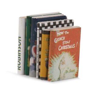 1-12-Wooden-Doll-house-Miniature-Books-6-pcs-colorful-Q2R6