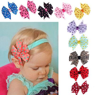 10PC Babys Headband Hairband Elastic Wave Point Polka Dot Bowknot Photography