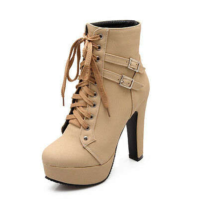 Womens High Heel Buckle Boots Shoes Plus  PU Leather Lace Up Platform Block