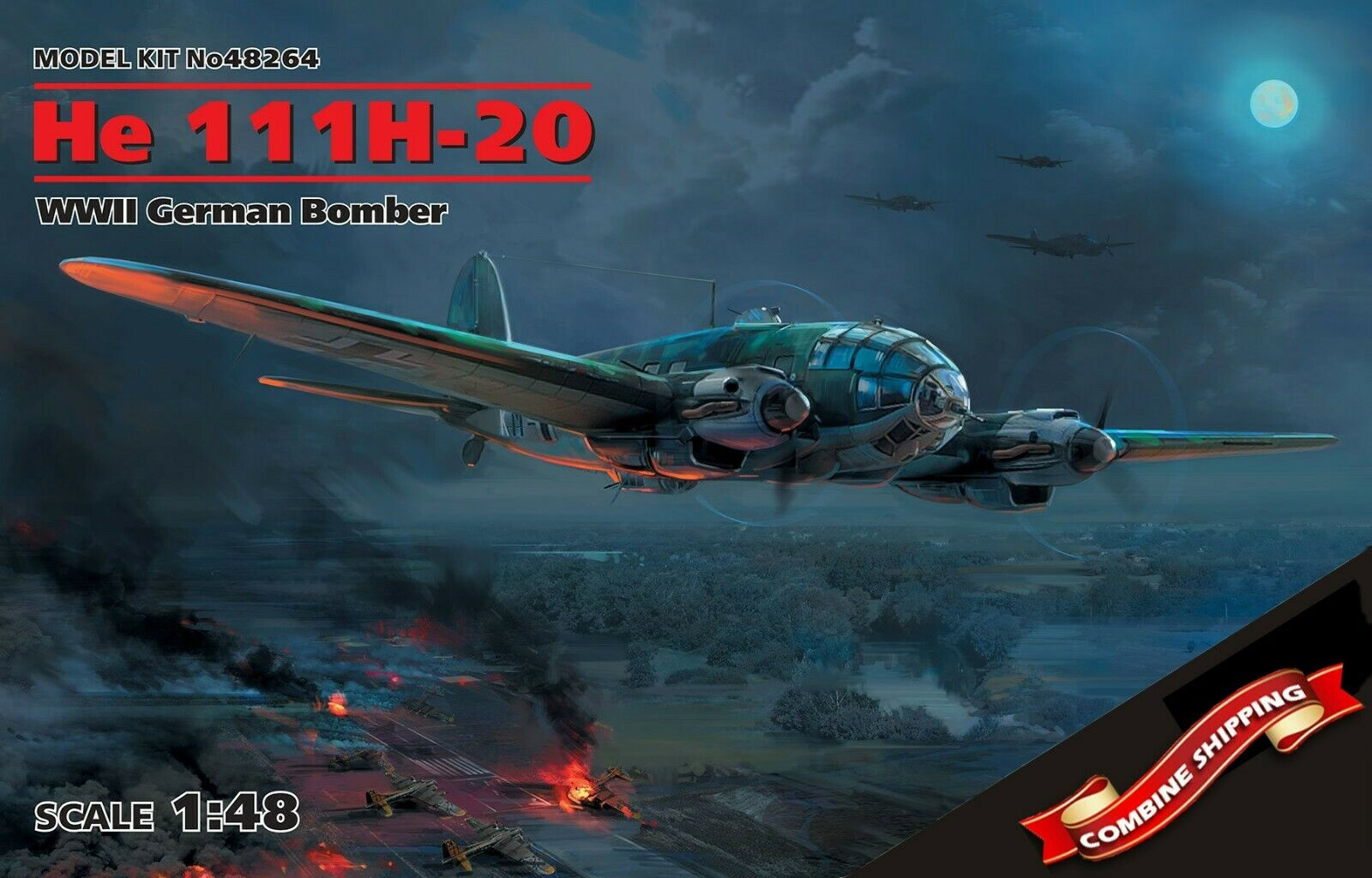 ICM 48264 Heinkel He 111H-20, WWII German Bomber, scale plastic model kit 1 48