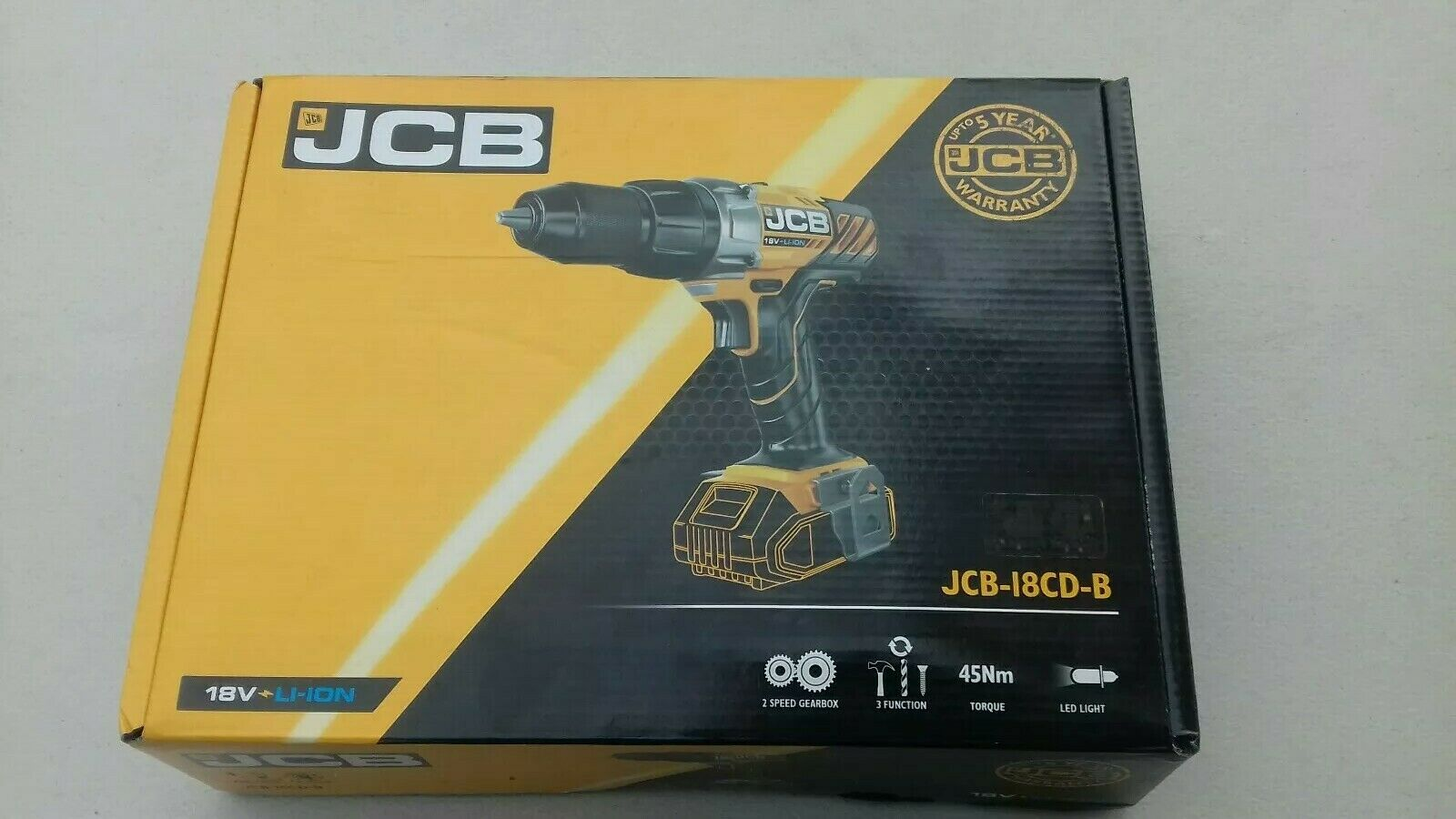 JCB-18CD Cordless Combi Drill, New with battery and charger. Unopened..