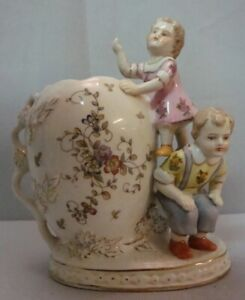 Art-Nouveau-Style-Vase-Figurine-Child-Art-Deco-Style-Porcelain-Enamels
