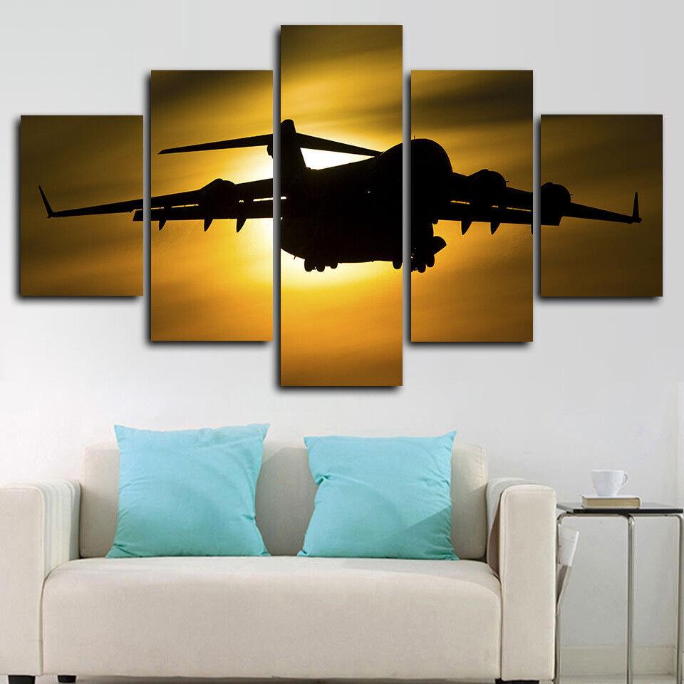 Framed Boeing C-17 Globemaster III Airplane 5 Piece Canvas Print Wall Art Decor