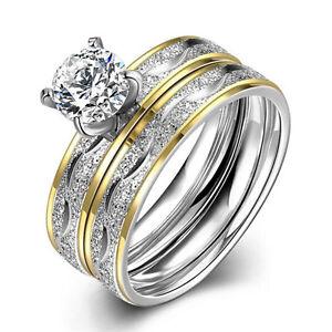 foto ufficiali dea8c 73bd1 Dettagli su Anelli per coppia da sposa in acciaio al titanio con doppio  anello in zirconi