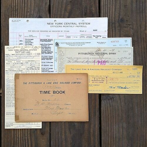 100 Vintage Original 1900-1980s RAILROAD TRAIN RAILWAY Paper Document Lot NOS