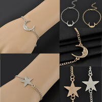 Fashion Chic Elegant Simple Gold/Silver Moon Stars Chain Charms Bracelet Jewelry