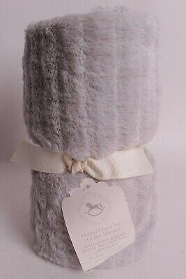 NWT Pottery Barn Kids Channel Faux Fur gray stroller baby blanket crib