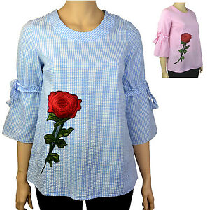 PLUS-SIZE-GINGHAM-STYLE-FLORAL-MOTIF-BELL-SLEEVE-TOP-Blue-or-Pink