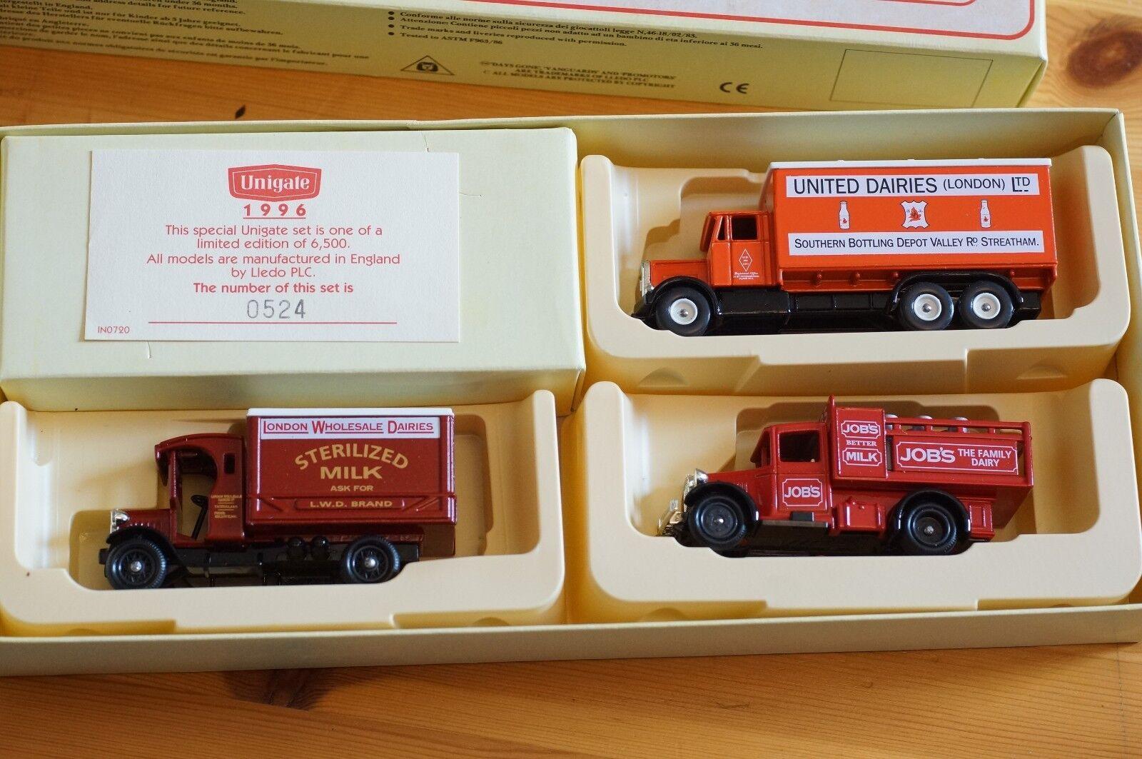 Lledo Unigate Set of 3 Lorries Limited Edition Edition Edition Boxset 1 of 6500 Mint in Box 369813