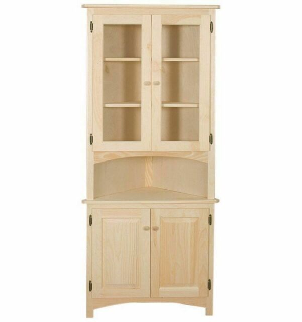 Brilliant New Amish Unfinished Solid Pine Corner Hutch China Cabinet Rustic Wood Handmade Home Remodeling Inspirations Basidirectenergyitoicom