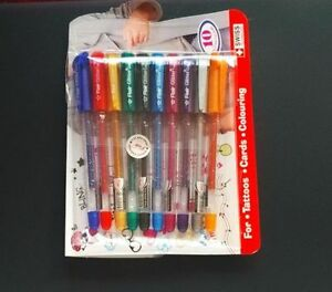 NEW FLAIR XTRA SPARKLE GLITTER GEL 10 COLOR PEN SET for