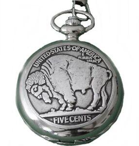 Orologio-da-tasca-con-coperchio-incrinato-CATENA-BUFALO-BISON-5-CENTS-WESTERN