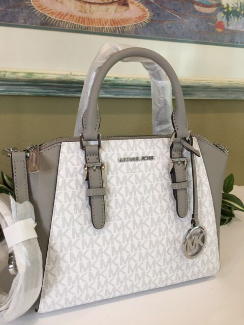 MICHAEL KORS CIARA MEDIUM MESSENGER CROSSBODY BAG MK WHITE SIGNATURE GREY