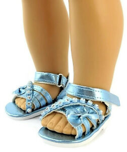 18 inch Girl Doll Clothes Shoes Sandals Slides Black Rhinestone American seller