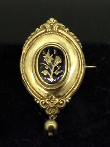 Antique-Victorian-Brooch-Enamelled-Pin-Gold-Gilt-Mourning-dangling-Circa-1890s