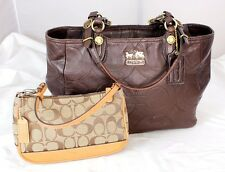 Lot Authentic Coach Monogram Embossed Brown Leather Tote Shoulder bag w/ Purse