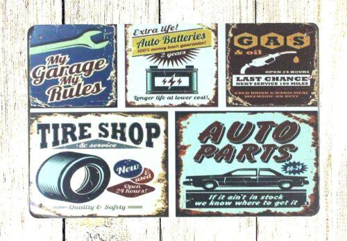 decoration art My garage rules GAS Tire Shop Auto Parts tin metal sign