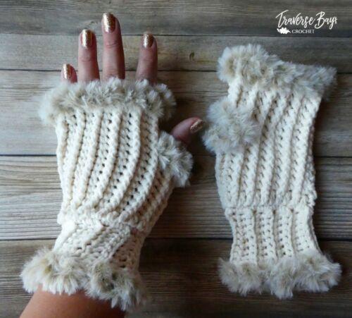 Crochet Faux Fur Fingerless Mittens PATTERN ONLY