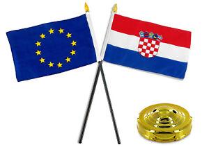 "Croatia 4/""x6/"" Flag Desk Set Table Stick Gold Base"