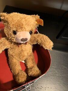 Steiff-Christmas-Teddy-Bear-Carlo-With-Trunk-Box-Gold-Brown-109942-NEW