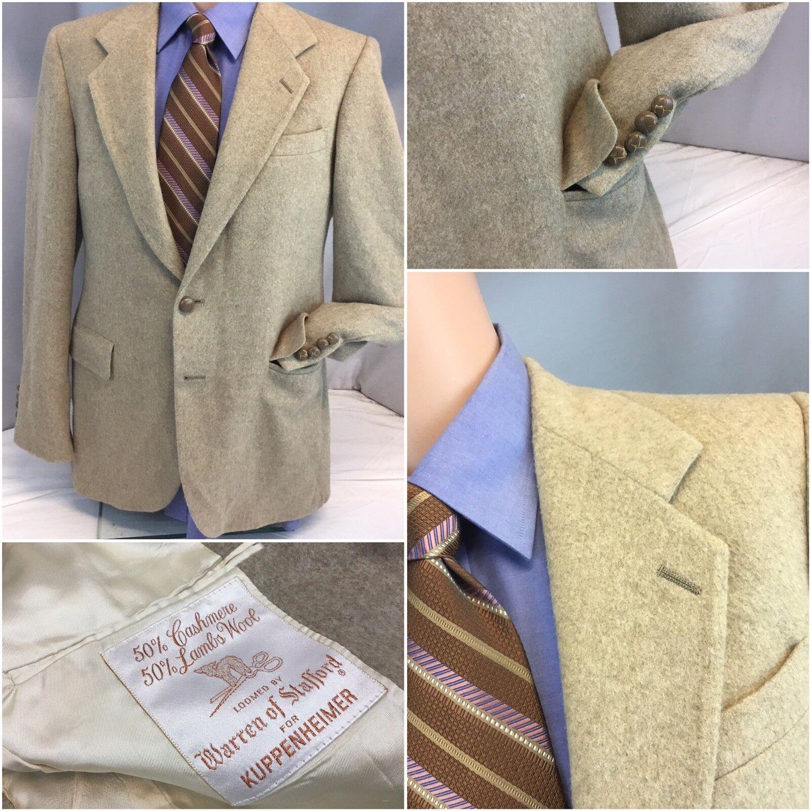 Warren Of Stafford Blazer 38R Beige Cashmere Wool USA Mint YGI L8-526