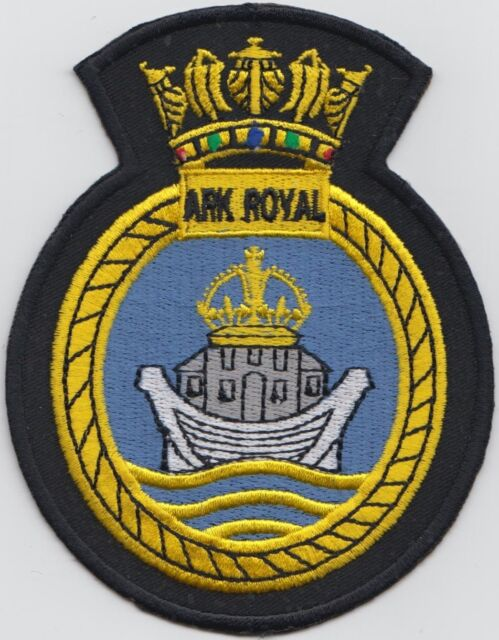 HMS Ark Royal Royal Navy Embroidered Crest Badge Patch - MOD Approved