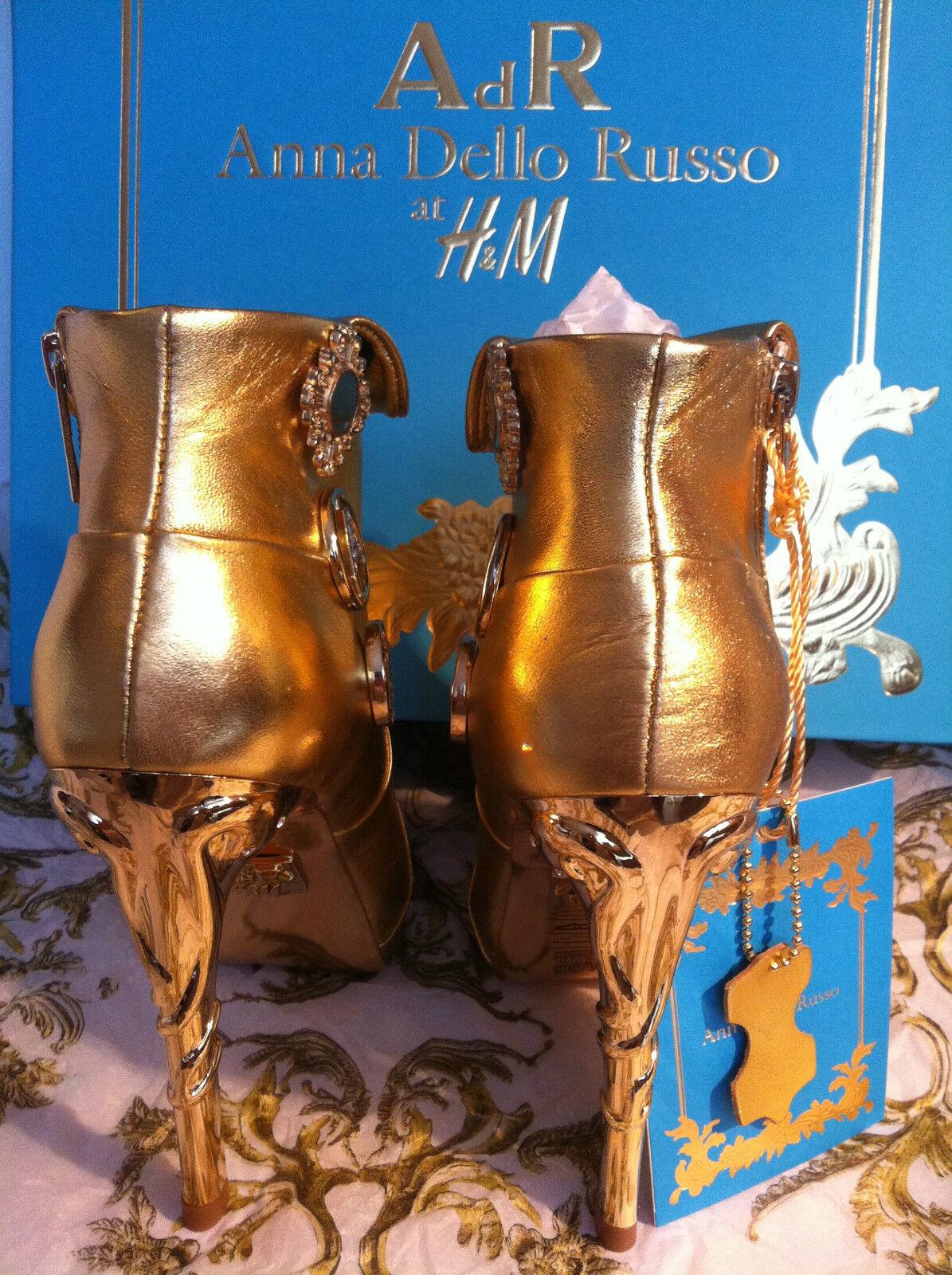Anna dello russo CDR Stivali Stivali Stivali Stivaletti in pelle oro tacco alto EUR 39+40 b9d551