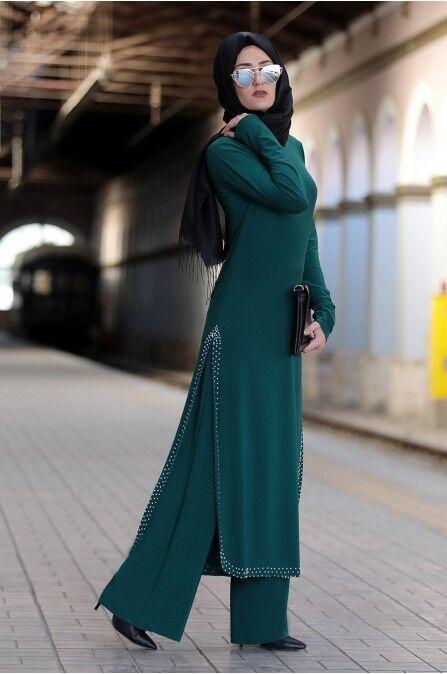 S-966 Tesettür Ikili Takim- Zweiteiliges Outfit-Tunika & Hose -Hijab
