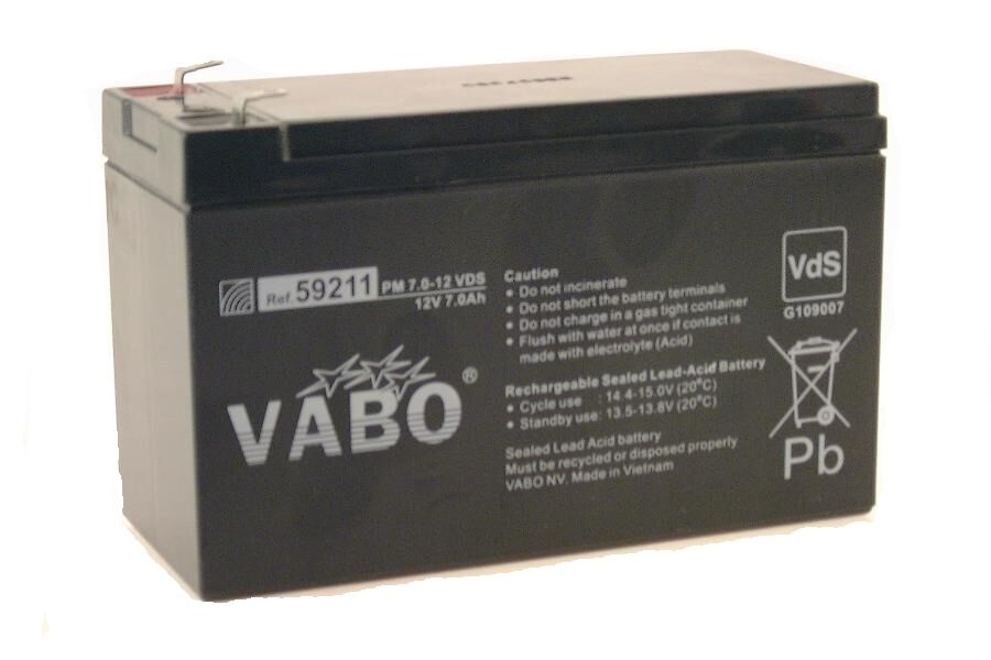 Kart Battery Vabo Pm 12 V - 7 Ah SLA for Kf, Max, Rok Motor, Kart Racing