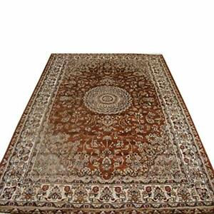 Burnt-Orange-Floral-Rectangle-Area-Rug-Hand-Knotted-Wool-Silk-Carpet-6-x-9-039