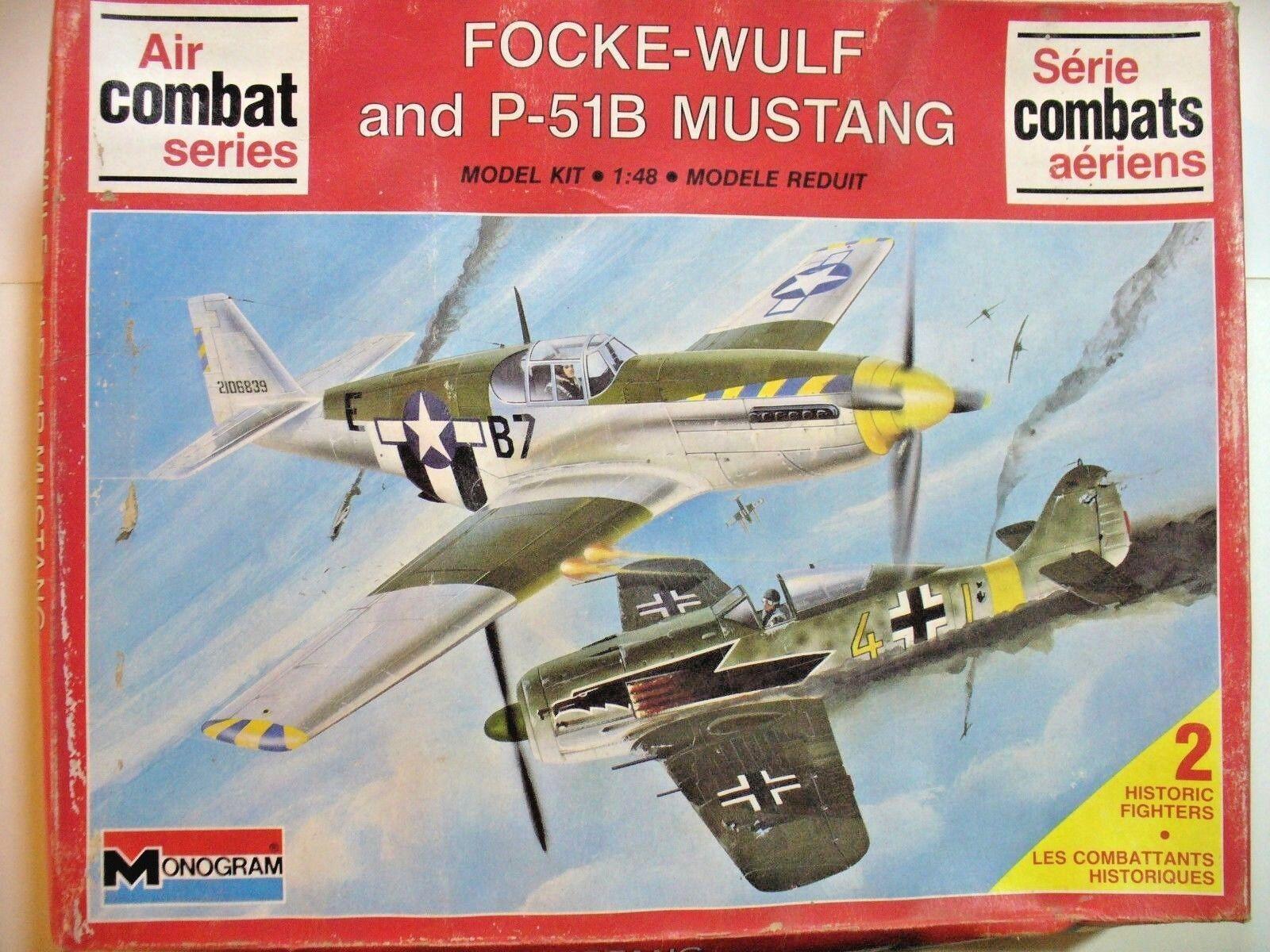FOCKE FOCKE FOCKE WOLF 190 + P 51 B MUSTANG  1 48 MONOGRAM scatola 36x29x6 cm cce6a4