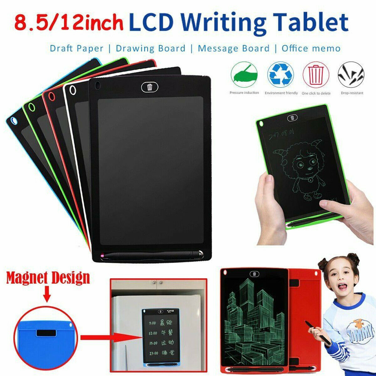 New Boogie Board Jot LCD Writing Tablet Black 8.5-Inch E-Writer Pad Sleeve Pen