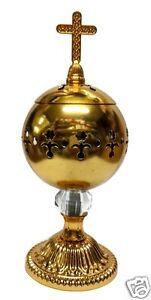 Catholic-Gold-Censer-Polished-Brass-Home-Church-Holy-Incense-Burner-Distiller