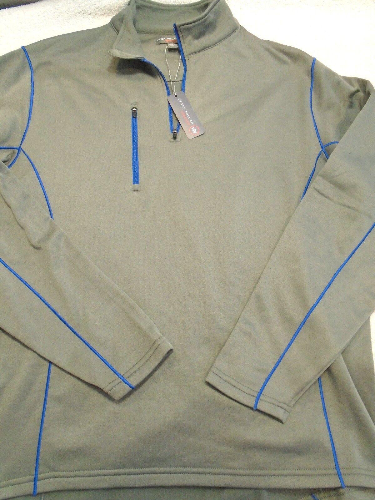 Peter Millar Crown Sport Smoke grau Quarter Zip Pullover Fleece NWT Large 135