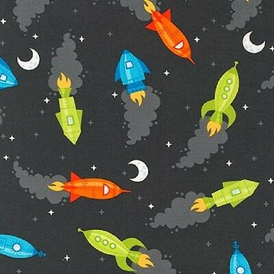 Robert Kaufman Cotton Fabric.Spaced Out Rockets.Charcoal.Black.Space.By the FQ