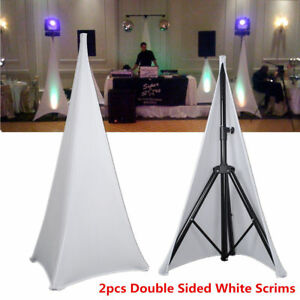 New 2x Double Sided Dj Tripod Speaker Stand Scrims Lycra