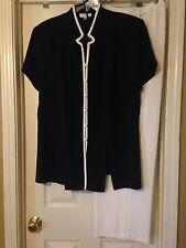 Dressbarn Woman Plus Size 24W Dark Blue Button Suit Jacket & White Dress Pants