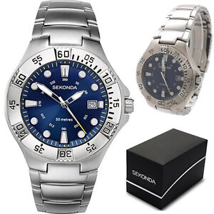 Sekonda Mens Gents Sports Watch Stainless Steel Blue Dial Water Resistant