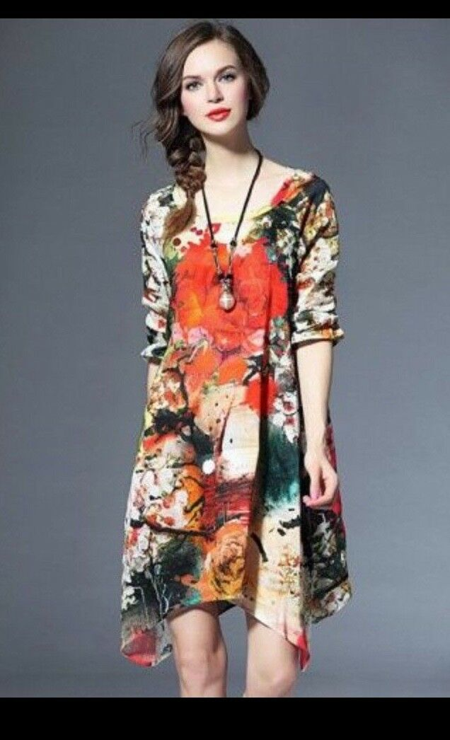 Danting Lisi Dress Dress Dress Sz XXL XL floral multi-color shift Silk blend 101ecb