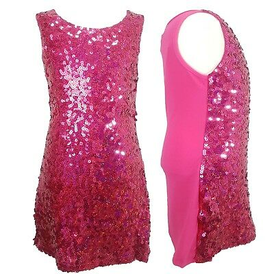 Girls Kids Sparkle Sequin Tunic Dress Gold Trend Prom 60/'s Dance Kids 4-14 Years