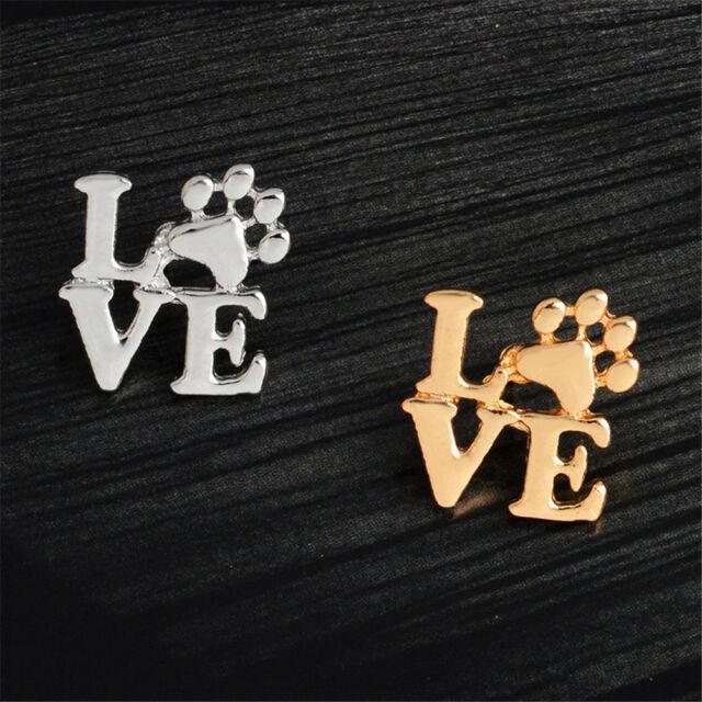 Love dog cat paw print pins brooch Pet memorial jewelry Keepsake jewelry TB