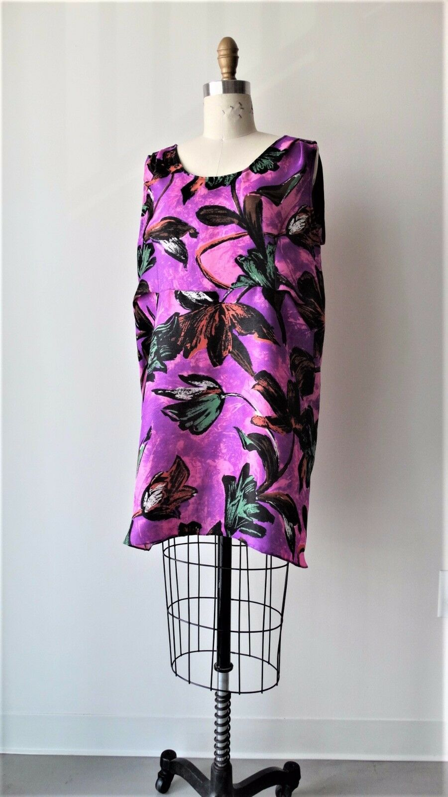 Marni multi -Färg floral Printed Silk  Linen Blend Slevelös Tunic Sz IT40