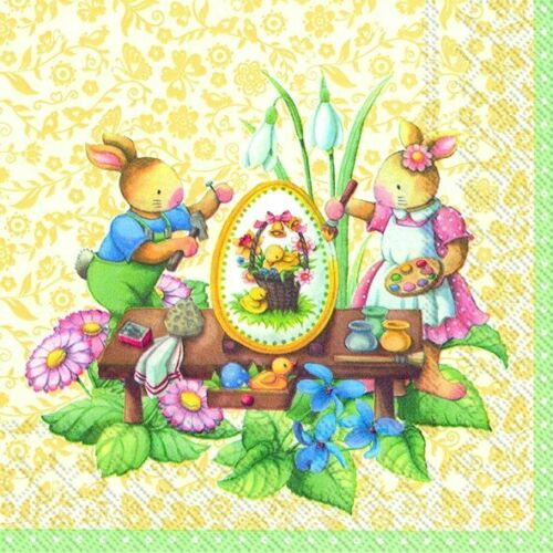 Pâques Serviettes 4 Individual Serviettes idéal pour DECOUPIS FREE POST