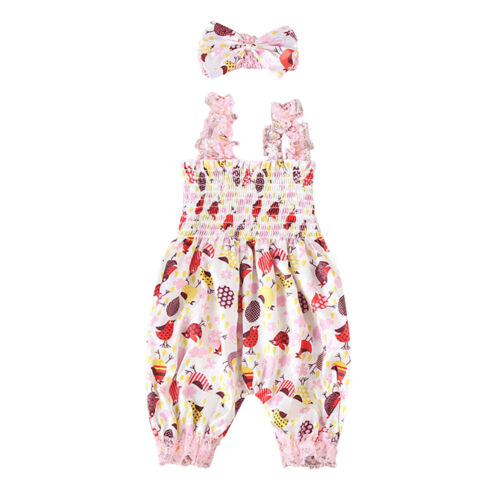Baby Romper Infant Headband Girl Floral Jumpsuit Newborn Outfit Bodysuit Clothes