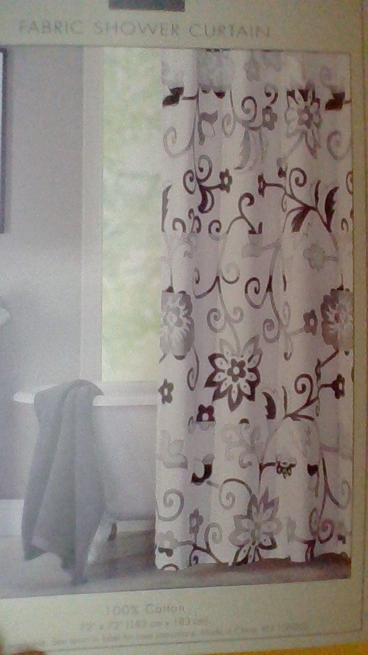 Hotel Twenty One Floral Neutral Design Cotton Fabric Shower Curtain NIP 966c23