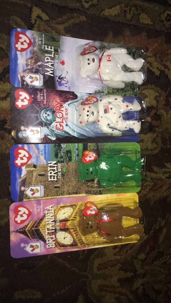 ALL 4 RONALD MCDONALD TY BEARS COLLECTIBLES