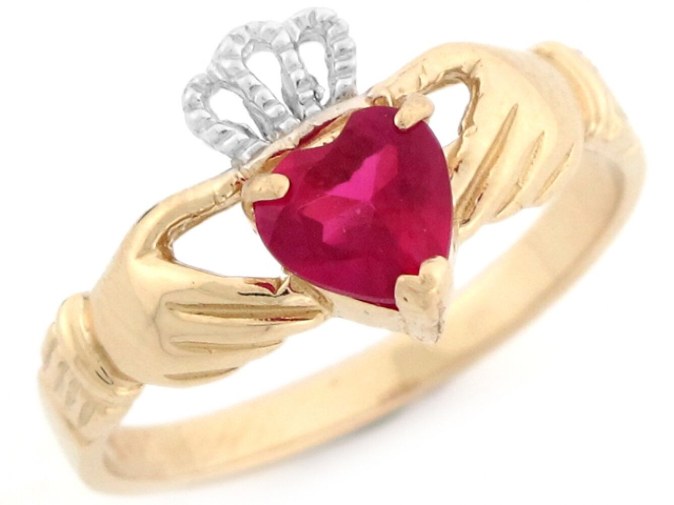 10k or 14k Two Toned gold Claddagh Simulated Heart Ruby July Birthstone Ring