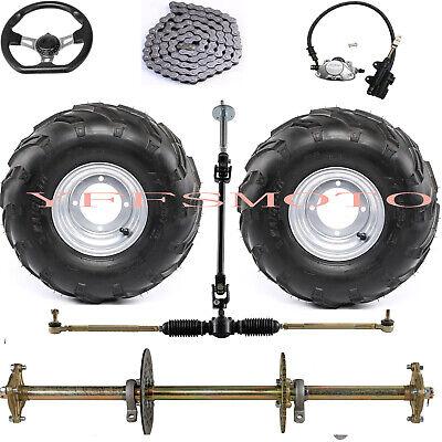 """32/"""" Go Kart Rear Axle Assembly Hub+16X8-7/"""" rim Tire Brake for ATV Drift Trike"""