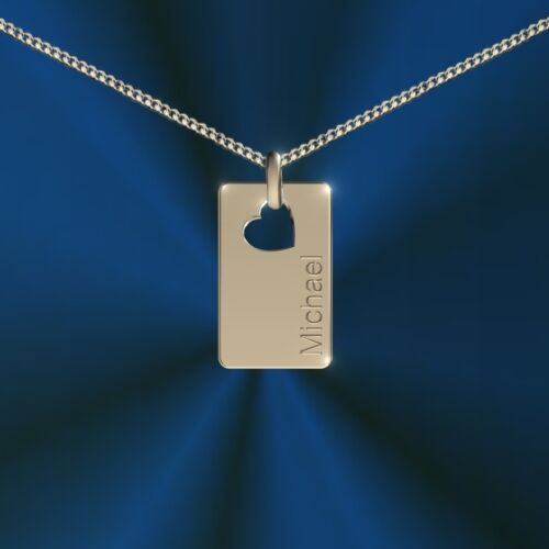 Pendant Rectangular with Heart Incl Name Necklace, Engraving Silver 925